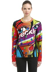 Moschino Eyes Oversize Printed Wool Knit Sweater Multicolor