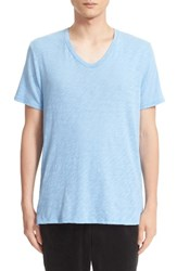 Atm Anthony Thomas Melillo Men's Slub V Neck T Shirt Sky Blue