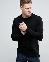 Pull And Bear Pullandbear Jumper With Waffle Texture In Black Black