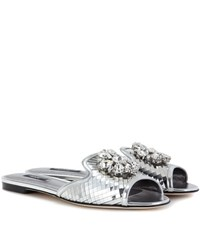 Dolce And Gabbana Bianca Metallic Leather Slip On Sandals Silver