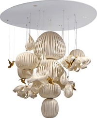 Lzf Candelabro 15 Dimmable Suspension Lamp Ivory White Gold Bird Multicolor