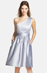 Women's Alfred Sung One Shoulder Satin Fit And Flare Dress French Grey