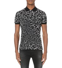 Iceberg Cracked Print Cotton Pique Polo Shirt Pattern