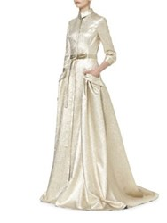 Carolina Herrera Gold Lame Trench Gown