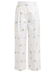 Racil Agadir Floral Embroidered Striped Trousers White Multi