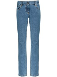 Palm Angels Arch Logo Print Straight Jeans Blue
