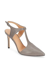 Halston Leather Point Toe T Strap Pumps Gunmetal
