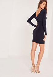 Missguided Cowl Back Slinky Bodycon Dress Navy Blue