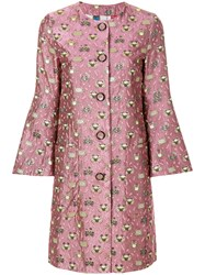 Femme By Michele Rossi Jacquard Coat Pink And Purple