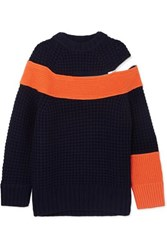 Sacai Color Block Knitted Sweater Navy