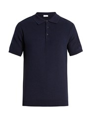 Sunspel Honeycomb Stitched Cotton Polo Shirt Navy