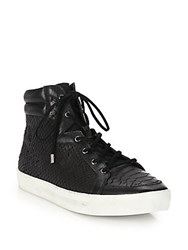 Joie Devon Leather Lace Up High Top Sneakers Black