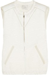 Iro Suede Trimmed Cotton And Silk Blend Jacquard Vest Ivory