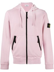 Stone Island Zip Up Hoodie Pink Purple