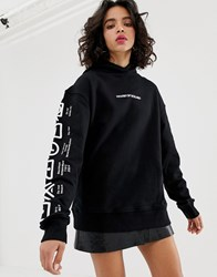 House Of Holland Handle With Care Oversized Hoodie Black
