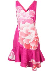 Josie Natori Peony Print Ruffle Trim Dress Pink And Purple
