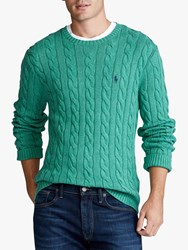 Ralph Lauren Polo Cable Knit Cotton Sweater Potomac Green Heather