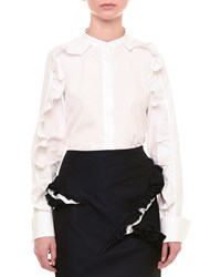 Jil Sander Ruffled Long Sleeve Button Front Blouse White