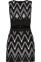 Dkny Cutout Embroidered Cotton Blend Mini Dress Black