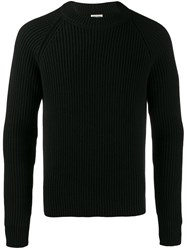 Saint Laurent Ribbed Crew Neck Jumper Black