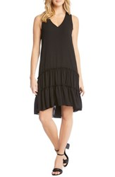 Karen Kane Double Ruffle Hem Crepe Dress Black