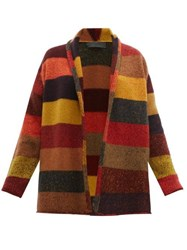 The Elder Statesman Striped Open Front Cashmere Cardigan Multi
