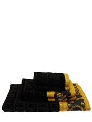 Versace Barocco And Robe Set Of 5 Cotton Towels Black