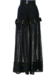 Sacai Calligraphy Embroidered Palazzo Pants Blue
