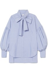 Hillier Bartley New Romantic Pinstriped Cotton Poplin Shirt Light Blue Gbp