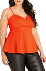 City Chic Plus Size Women's 'Sexy Split' Sweetheart Neck Peplum Top Orange