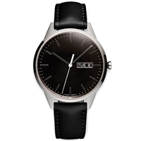 Uniform Wares C40 Calendar Wristwatch Polished Steel And Black Leather