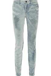 Alexander Wang Wang 001 Flocked Mid Rise Skinny Jeans Blue
