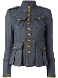 Dsquared2 Standing Collar Military Jacket Grey