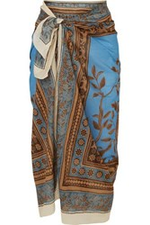 Johanna Ortiz Welcome To The Jungle Printed Cotton Voile Pareo Azure