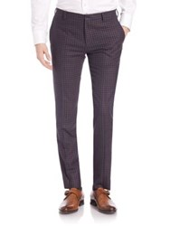 Paul Smith Merino Wool Check Trousers Brown Navy
