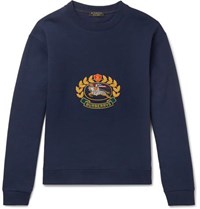 Burberry Embroidered Fleece Back Cotton Blend Jersey Sweatshirt Navy