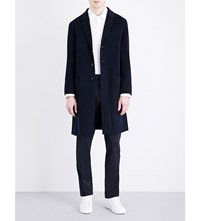 Joseph Triple Breasted Wool And Cashmere Blend Coat Navy