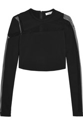 Thierry Mugler Mesh Paneled Stretch Crepe Top Black