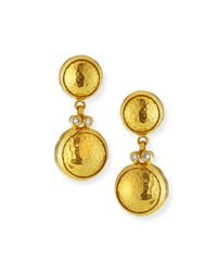 Gurhan 24K Double Drop Earrings With Diamonds