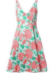 P.A.R.O.S.H. Floral Jacquard Flared Dress Green
