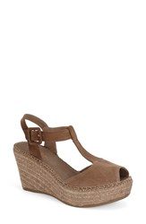 Toni Pons Women's 'Lidia' T Strap Espadrille Wedge Taupe Suede