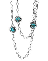 Lagos Sterling Silver Maya Escape Chrysocolla Six Stone Doublet Station Necklace 36 Teal Silver