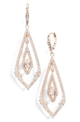 Jenny Packham Pave Drop Earrings Crystal Rose Gold