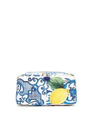 Dolce And Gabbana Majolica Print Make Up Bag Blue White