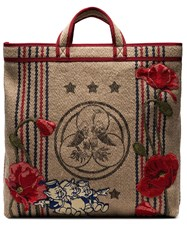 Gucci Beige Floral Embroidered Pig Patch Jute Tote Bag Brown