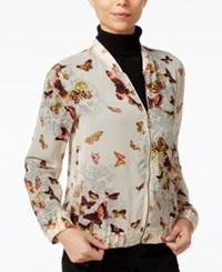 Fair Child Butterfly Print Bomber Jacket Winter White