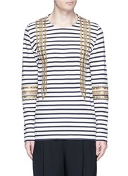 Ports 1961 Sailor Embellished Stripe Long Sleeve T Shirt Multi Colour