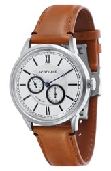 James Mccabe Men's Heritage Ii Automatic Multifunction Leather Strap Watch 39.5Mm White Brown