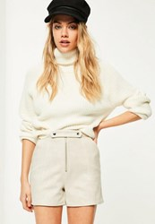 Missguided White Double Button Front Bonded Faux Suede Shorts Cream