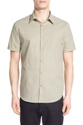 John Varvatos Trim Fit Circle Print Short Sleeve Sport Shirt Green